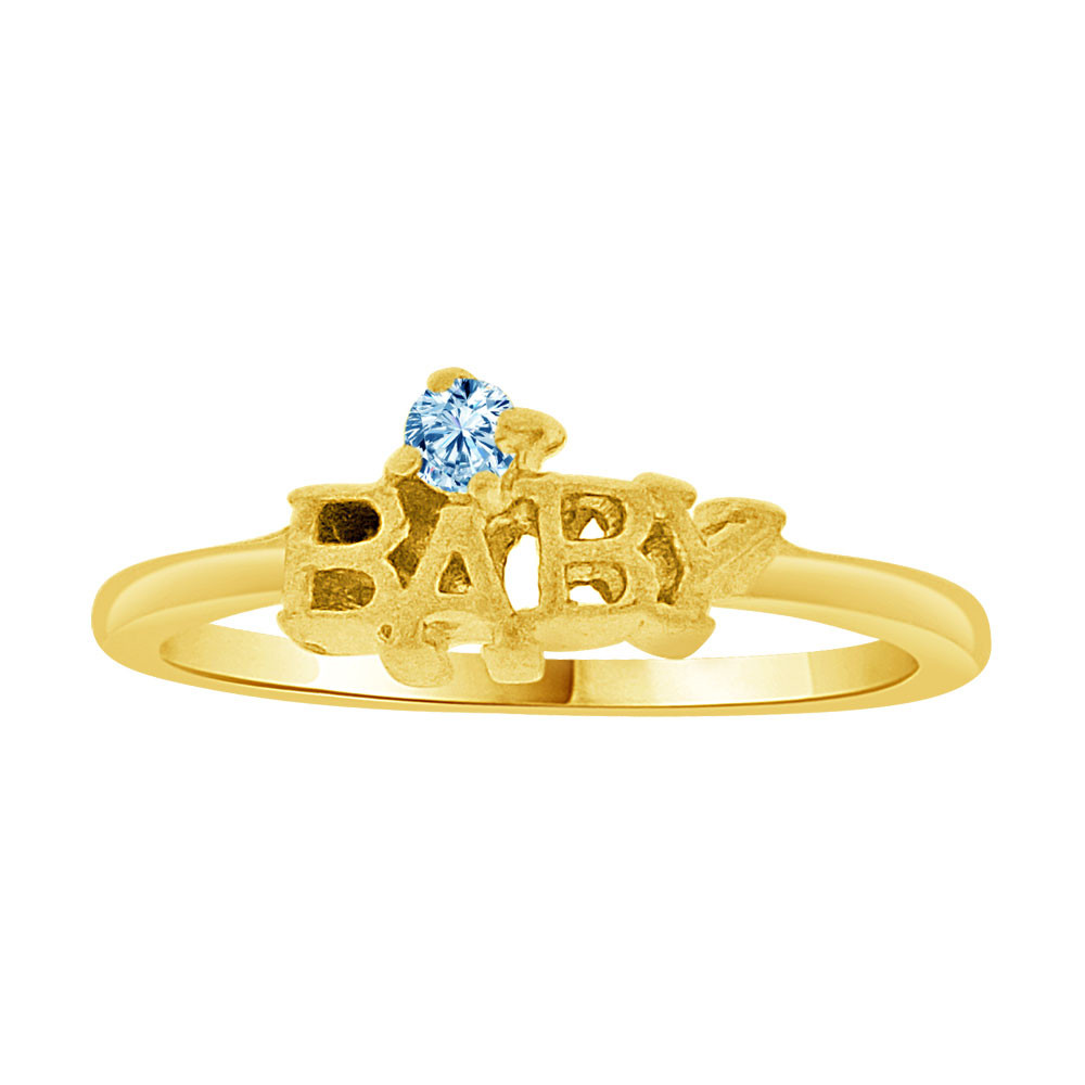 Mini Size Baby Ring Created Blue CZ Band Design 14k Yellow Gold