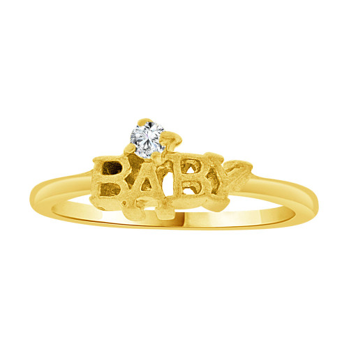 14k Yellow Gold, Mini Size Child or Pinky Ring Created CZ (R256-804)