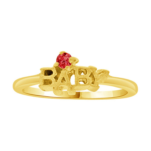 14k Yellow Gold, Mini Size Child or Pinky Ring Created Red CZ (R256-807)