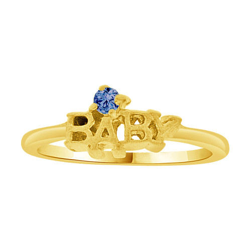 14k Yellow Gold, Mini Size Child or Pinky Ring Created Blue CZ (R256-809)