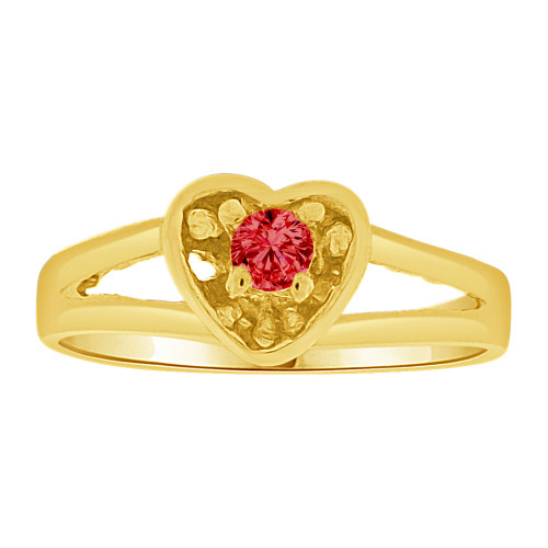14k Yellow Gold, Mini Size Child Ring Created Red CZ Heart Design (R257-407)