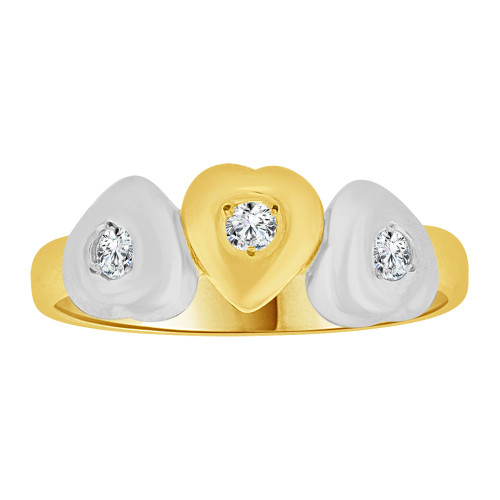 14k Yellow Gold White Rhodium, Triple Heart Ring Created Cubic Zirconias (R258-009)