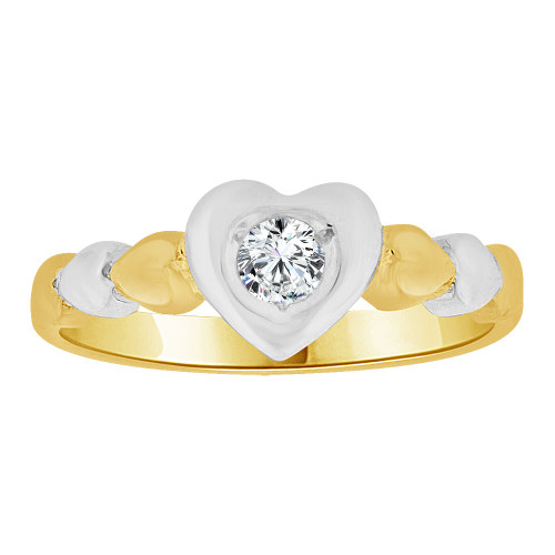 14k Yellow Gold White Rhodium, Heart Ring Created Cubic Zirconias (R258-010)