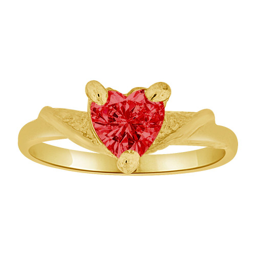 14k Yellow Gold, Mini Size Child Ring Created Red CZ Heart Design (R258-307)