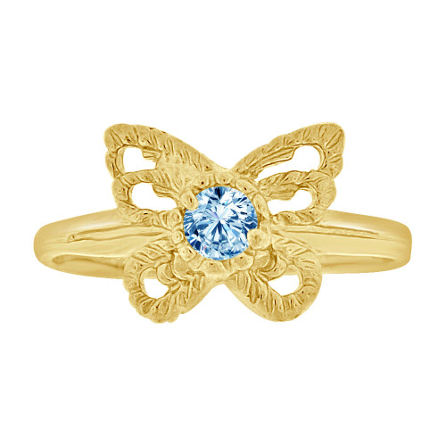 14k Yellow Gold, Mini Size Child or Adult Pinky Ring Created Aqua CZ Butterfly Design (R258-503)