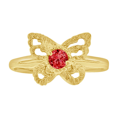 14k Yellow Gold, Mini Size Child or Adult Pinky Ring Created Red CZ Butterfly Design (R258-507)