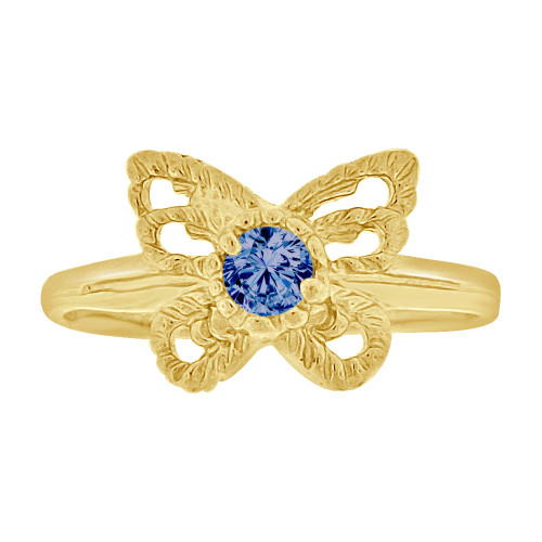 14k Yellow Gold, Mini Size Child or Adult Pinky Ring Created Blue CZ Butterfly Design (R258-509)