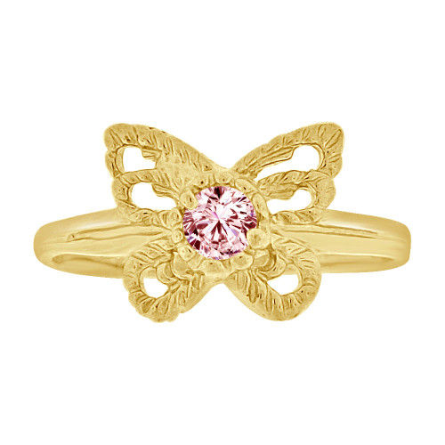 14k Yellow Gold, Mini Size Child or Adult Pinky Ring Created Pink CZ Butterfly Design (R258-510)