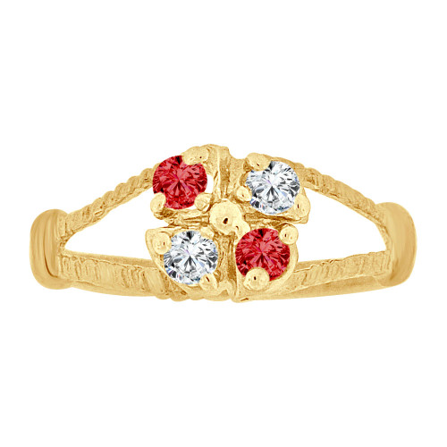 14k Yellow Gold, Mini Size Child Ring Created Red & White CZs Cluster Design (R258-607)