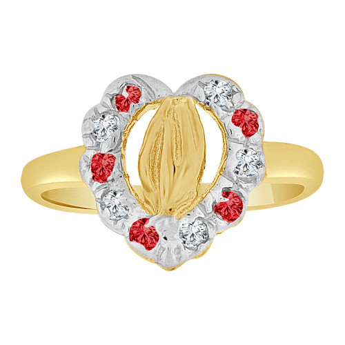14k Yellow Gold, Child or Adult Pinky Ring Created CZs Praying Hands Heart Design (R258-707)