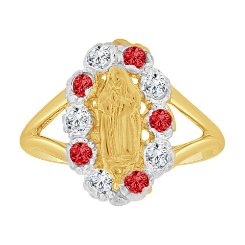 14k Yellow Gold, Child or Adult Pinky Ring Created CZs Virgin Heart Design (R258-807)
