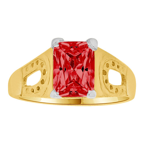 14k Yellow Gold, Mini Size Child Ring Created Red CZ Lucky Horse Shoe Design (R259-307)