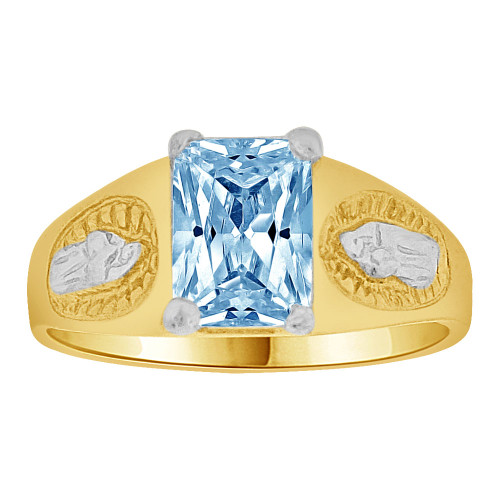 14k Gold White Rhodium, Small Child or Pinky Adult Ring Created Aqua CZ Virgin Mary (R259-503)