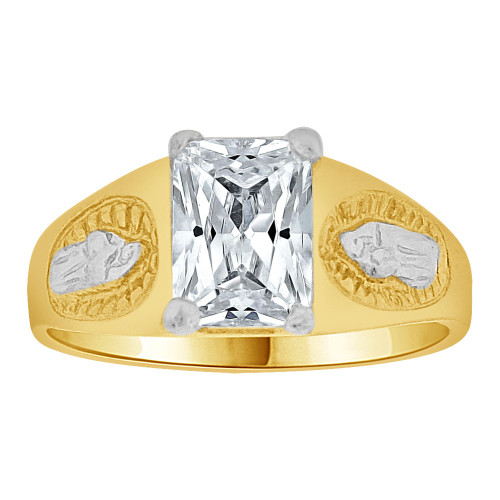14k Gold White Rhodium, Small Child or Pinky Adult Ring Created CZ Virgin Mary (R259-504)
