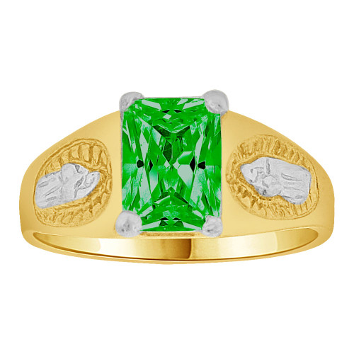 14k Gold White Rhodium, Small Child or Pinky Adult Ring Created Green CZ Virgin Mary (R259-505)