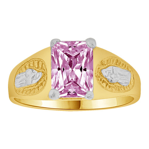 14k Gold White Rhodium, Small Child or Pinky Adult Ring Created Light Purple CZ Virgin Mary (R259-506)