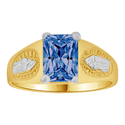 14k Gold White Rhodium, Small Child or Pinky Adult Ring Created Blue CZ Virgin Mary (R259-509)
