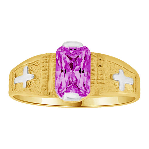 14k Yellow Gold White Rhodium, Small Size Child Ring Created Purple CZ Cross Design (R259-702)