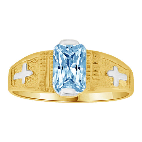 14k Yellow Gold White Rhodium, Small Size Child Ring Created Aqua CZ Cross Design (R259-703)
