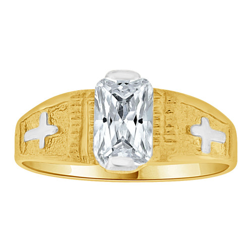 14k Yellow Gold White Rhodium, Small Size Child Ring Created CZ Cross Design (R259-704)