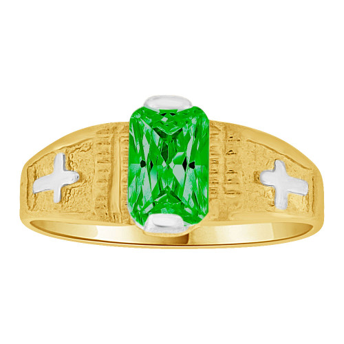 14k Yellow Gold White Rhodium, Small Size Child Ring Created Green CZ Cross Design (R259-705)