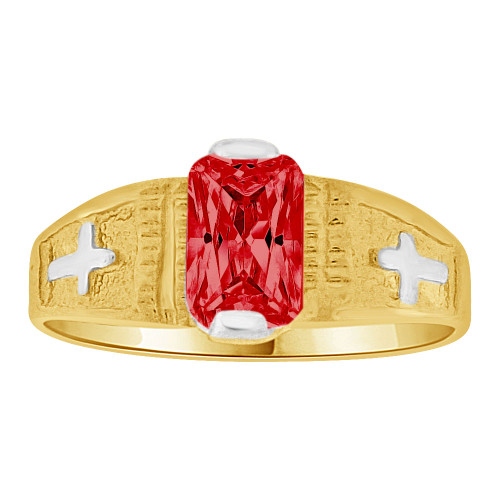 14k Yellow Gold White Rhodium, Small Size Child Ring Created Red  CZ Cross Design (R259-707)