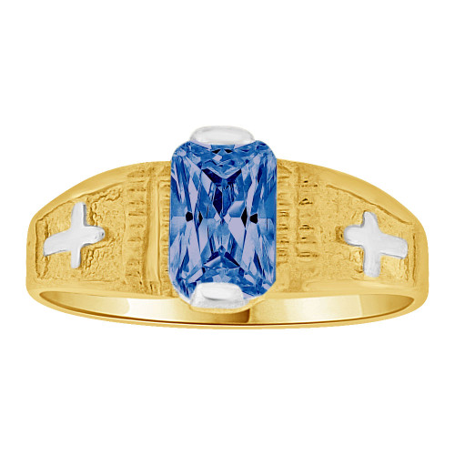 14k Yellow Gold White Rhodium, Small Size Child Ring Created Blue  CZ Cross Design (R259-709)