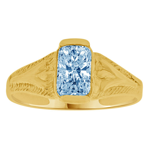 14K Yellow Gold, Created Cubic Zirconia Crystal Baby Child Ring Adult Pinky Ring Aqua Light Blue (R260-103)