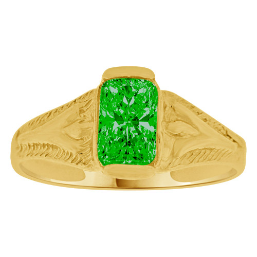 14K Yellow Gold, Created Cubic Zirconia Crystal Baby Child Ring Adult Pinky Ring Green (R260-105)
