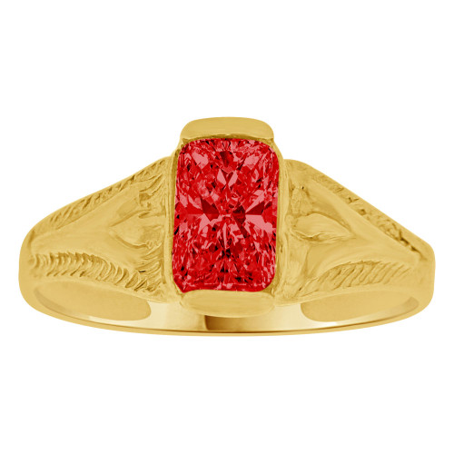 14K Yellow Gold, Created Cubic Zirconia Crystal Baby Child Ring Adult Pinky Ring Red (R260-107)