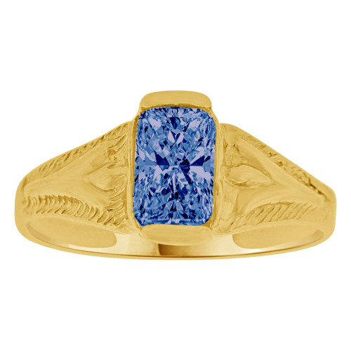 14K Yellow Gold, Created Cubic Zirconia Crystal Baby Child Ring Adult Pinky Ring Dark Blue (R260-109)