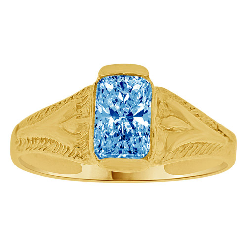14K Yellow Gold, Created Cubic Zirconia Crystal Baby Child Ring Adult Pinky Ring Blue (R260-112)