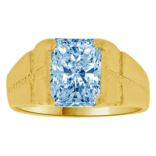 14K Yellow Gold, Created Cubic Zirconia Crystal Child Ring Adult Pinky Ring Aqua Blue (R260-403)