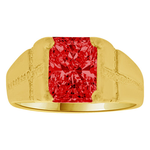 14K Yellow Gold, Created Cubic Zirconia Crystal Child Ring Adult Pinky Ring Red (R260-407)