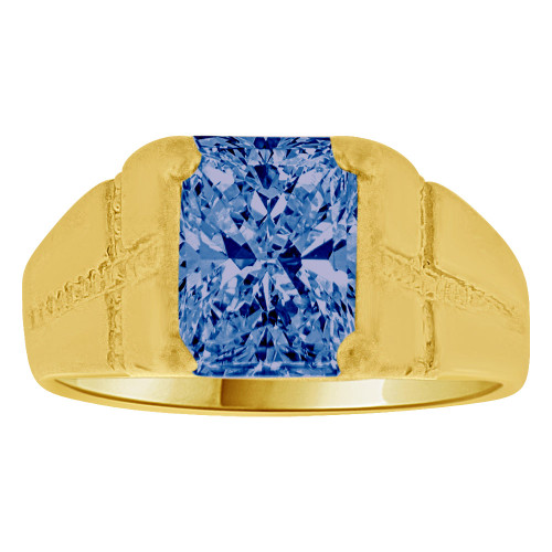 14K Yellow Gold, Created Cubic Zirconia Crystal Child Ring Adult Pinky Ring Dark Blue (R260-409)