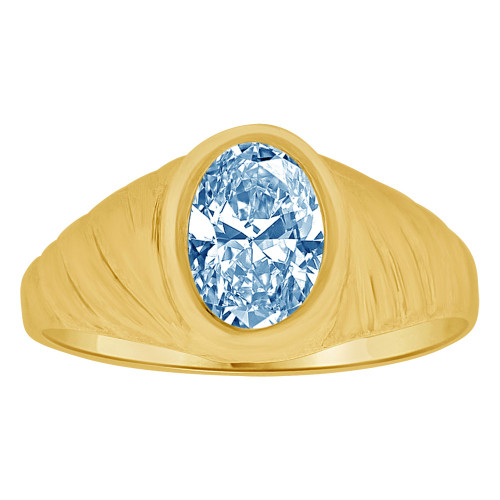 14k Yellow Gold, Small Teenager Ring Adult Pinky Ring Created Cubic Zirconia Crystal Aqua Blue (R260-503)