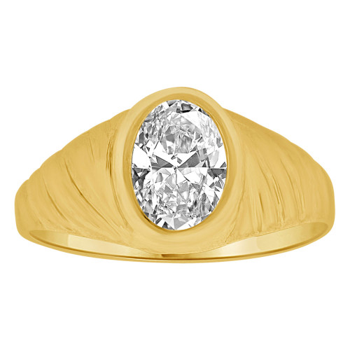 14k Yellow Gold, Small Teenager Ring Adult Pinky Ring Created Cubic Zirconia Crystal (R260-504)
