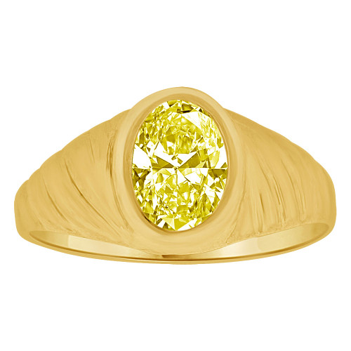14k Yellow Gold, Small Teenager Ring Adult Pinky Ring Created Cubic Zirconia Crystal Yellow (R260-511)