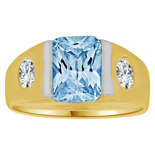14K Yellow Gold, Created Cubic Zirconia Crystal Child Ring Adult Pinky Ring Aqua Blue (R260-603)