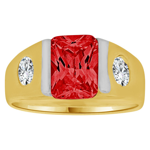 14K Yellow Gold, Created Cubic Zirconia Crystal Child Ring Adult Pinky Ring Red (R260-607)