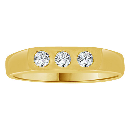 14k Yellow Gold, Small Size Ring Modern Design Created Cubic Zirconia Crystals Child Ring Adult Pinky Ring (R261-009)