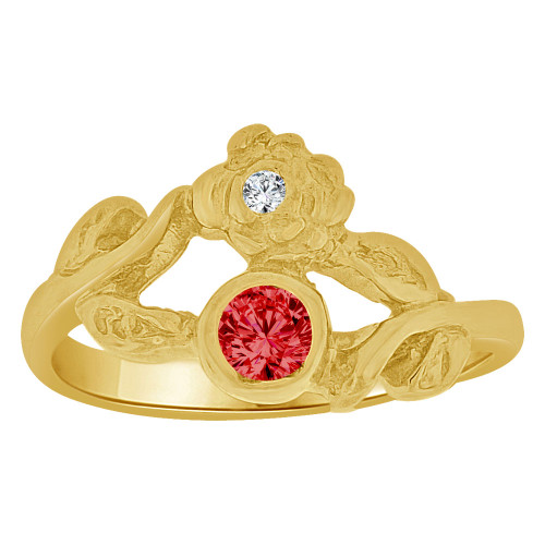 14k Yellow Gold, Small Size Child Ring Adult Pinky Ring Flower Design Created Cubic Zirconia Crystals (R261-011)