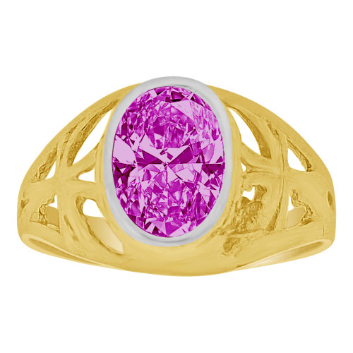 14k Yellow Gold, Small Size Child Ring Adult Pinky Ring Created Cubic Zirconia Crystal Cross Design Purple (R261-102)