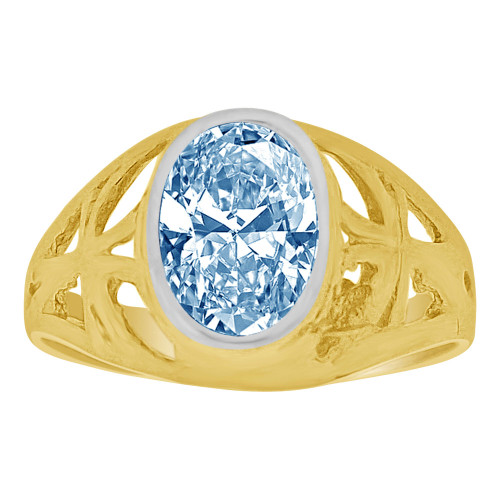 14k Yellow Gold, Small Size Child Ring Adult Pinky Ring Created Cubic Zirconia Crystal Cross Design Aqua Blue (R261-103)