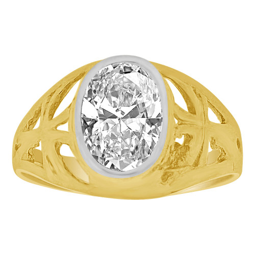 14k Yellow Gold, Small Size Child Ring Adult Pinky Ring Created Cubic Zirconia Crystal Cross Design (R261-104)