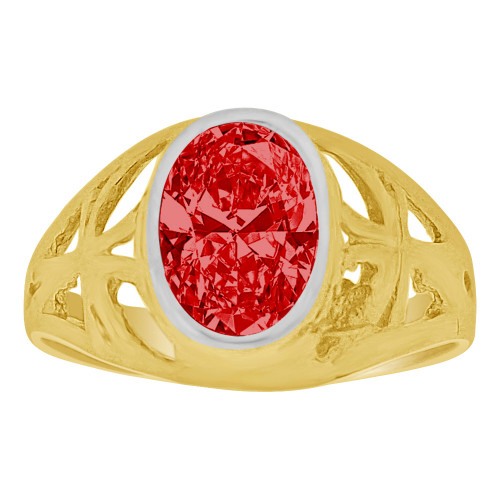 14k Yellow Gold, Small Size Child Ring Adult Pinky Ring Created Cubic Zirconia Crystal Cross Design Red (R261-107)