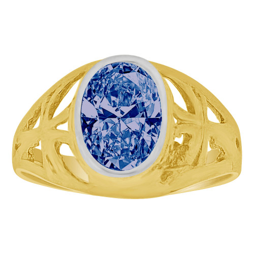 14k Yellow Gold, Small Size Child Ring Adult Pinky Ring Created Cubic Zirconia Crystal Cross Design Blue (R261-109)