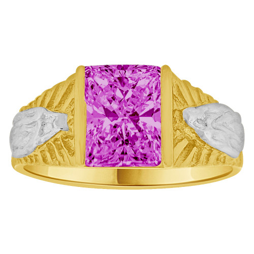 14k Yellow Gold White Rhodium, Classic Virgin Religious Ring Created Cubic Zirconia Crystal Purple (R261-202)