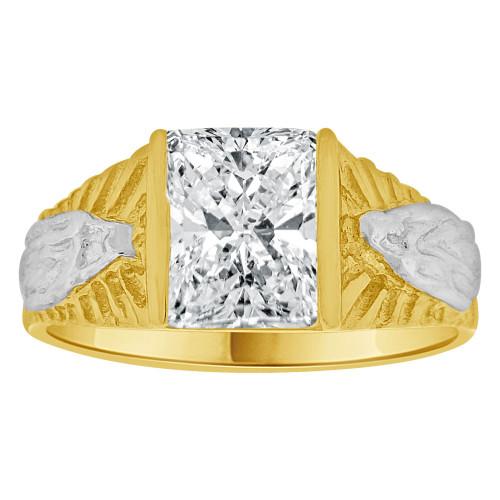 14k Yellow Gold White Rhodium, Classic Virgin Religious Ring Created Cubic Zirconia Crystal (R261-204)