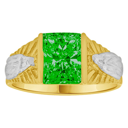 14k Yellow Gold White Rhodium, Classic Virgin Religious Ring Created Cubic Zirconia Crystal Green (R261-205)
